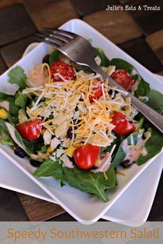 Quick and easy salad with a southwestern twist via www.julieseatsandtreats.com #salad #southwestern