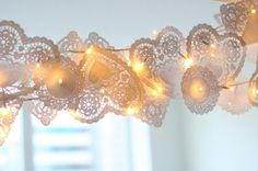 Lace doily and christmas light garland