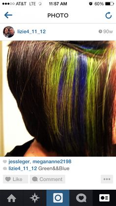 Short inverted hair with green  blue peekaboo highlights