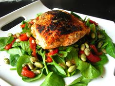 blackened salmon salad w/ roasted red peppers & wasabi edamame | two foodies & a pup