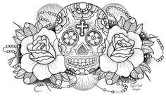 draw-mexican-skull-skull-Favim.com-219550.jpg (500×304)