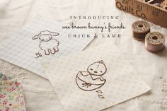 Wee Brown Bunny's Friends: Chick and Lamb [Embroidery Pattern]