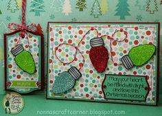 "Christmas card and matching gift tag.  I used the ""lights4Christmas"" stamp set."