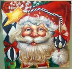 Hand Painted Santa Print