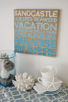 summertime wall art...with #CanvasCorp Burlap Stretched Canvas - painted burlap