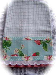 Cath Kidston strawberry fabric decorated tea towel.