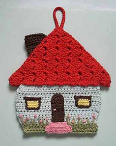 Honeymoon cottage potholder pattern by Lily Mills Company