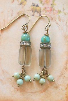 Sweet Jane. sage green,rhinestone beaded drop earrings. Tiedupmemories