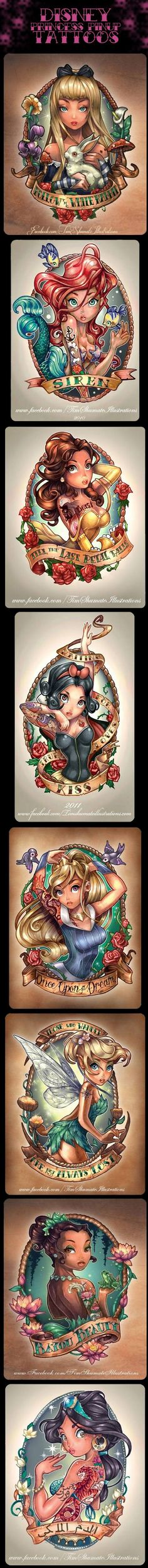 8 Very Cool Disney Princess Pinup Tattoos…  Hey . . . it's Disney . . . couldn't resist pinning.