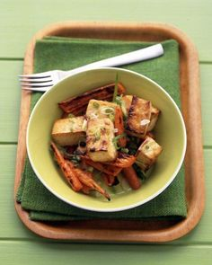 Soy-Glazed Tofu and Carrots Recipe. Use extra-firm tofu, it will hold up better when broiled and tossed.