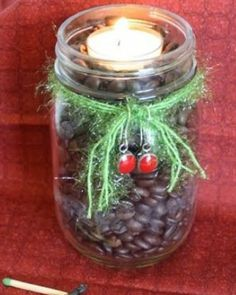Easy Holiday Decorations - Mason Jar Christmas Candle - Click Pic for 18 Christmas Candle Ideas