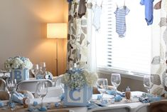 "Photo 1 of 21: Shabby Chic Boy / Baby Shower/Sip & See ""Welcome Baby Brayden"" 
