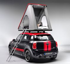 """""""BMW MINI celebrates the occasion with the 'release' of two camping solutions for intrepid MINI drivers:   the 'swindon' rooftop tent and 'cowley caravan'. both devices sleep two, and can be affixed to any MINI clubman or countryman vehicle."""""""