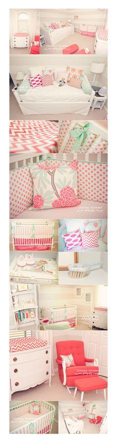 baby girl nursery coral, color schemes, baby girl rooms, girl nurseries, girl daybed, baby girls, babi girl, girl nursery colors, babies rooms