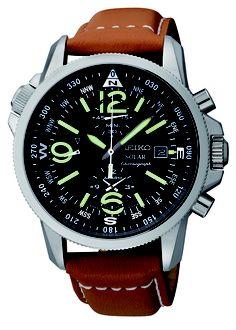Seiko Solar Watch, Solar Alarm Cronograph, with crocodile strap and green accents, SSC081 www.SeikoUSA.com