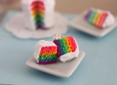 Rainbow cake earings!!!! Why, yes, I would like them thanks!!!! dessert tables, color, food, rainbow cakes, cake bites, earring, mini cakes, allergies, spot