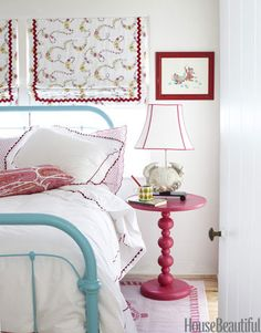 Precious turquoise and red girl's bedroom.    Beach House Decorating Ideas - How to Decorate a Beach House - House Beautiful