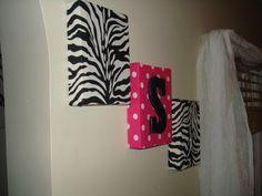 Zebra fabric wall hangings wall decor monogram pink by MadMosaics, $29.00