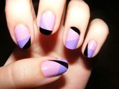 color combos, nail designs, manicur, nail art ideas, nail arts, black nails, purple nails, geometric designs, tape
