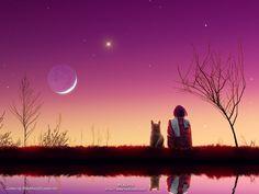 moon, childhood memories, la luna, art, dog, garden, friend, starry skies, starry nights