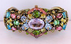 Hollycraft Rhinestone Hinged Clamper Bracelet