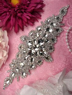 """XR202 Bridal Sash Applique Crystal Rhinestone 9"""" (XR202-slcr)"""