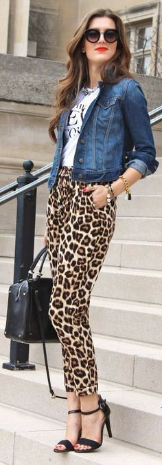 Leopard Pant with blue jacket! I *just* bought a pair of leopard pants like this, but I paired then with a floaty black tank and long black cardigan =) LOVE!
