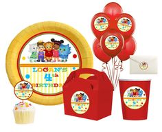 Daniel Tigers Neighborhood Printable Birthday party,hershey kisses, goodie bags,balloons,cupcake toppers,centerpiece, stickers -  Digital. $6.00, via Etsy.