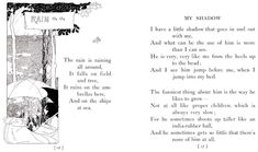 First two verses of RLS My Shadow, I love this poem