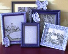 Light//Dark Purple Frame Set with Butterfly Plaques.