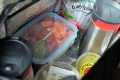 Healthy eats on the go! protein and veggies in the LunchBots Clicks Medium Set