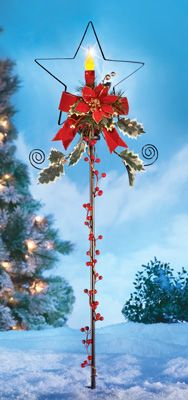 LED Holiday Solar Candle Star Garden Stake