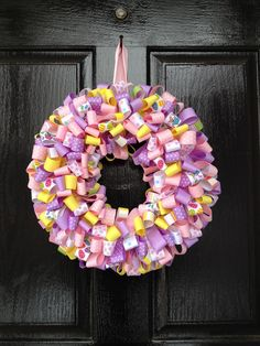 Easter Ribbon Wreath @Danielle Lampert Renfrow I may order this lol