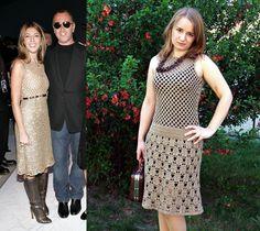 Beige crochet dress inspired by Prada.