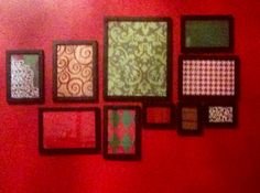 my homemade, broke college student, christmas decor.  wrapping paper, framed.  @Courtney Wilkerson