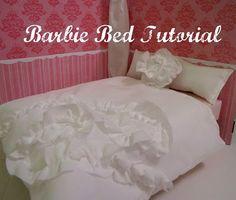 Make a Barbie bed and bedding - scrap fabric, foam, and cardboard!