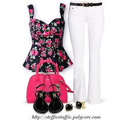 Deep Pink  Black Floral Ruffles