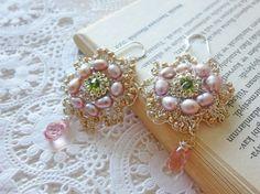 Bridal Pearl Earrings  Romantic Blush Pink Dangle Silver by sukran, $76.00