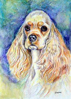 Cocker Spaniel Giclee Fine Art Print by DogArtByLyn,
