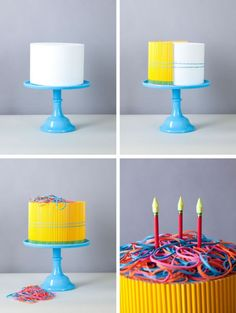 faux cake made out of pencils for a back to school party