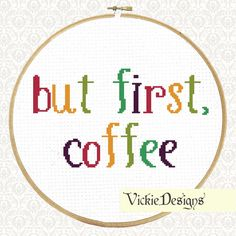 But First Coffee Quote Sampler Rainbow Cross Stitch Pattern PDF on Etsy, $5.58 CAD