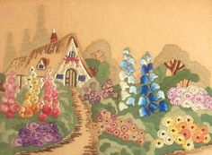 art deco cottage embroidery