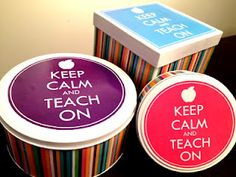 Keep Calm and Teach On Craft and Freebie Graphics! All you need are Christmas tins, paper, and a few adhesive materials!
