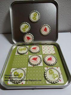 kid pics, bottle caps, stamp, tin boxes, bottle crafts, tic tac toe, old tins, altoids tins, hat