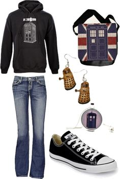 dr who outfit, fashion outerwear, cloth, cosplay outfits, polyvore geek, converse, doctor who style, chuck taylor, dr who fashion