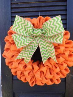"Orange Burlap ""Pumpkin"" Wreath with Green Chevron Burlap Bow, Fall Wreath, Thanksgiving Decor, Harvest"