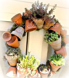 clay pot wreath with succulents