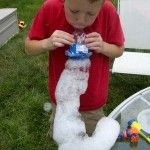 "A bubble recipe, and ideas for bubble fun, including this one using a plastic bottle, a/k/a a ""Super Foam-erator"" from Betz White"