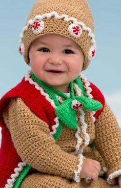 Free Gingerbread Baby Set Crochet Pattern