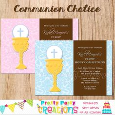 COMMUNION CHALICE invitation  You Print by PrettyPartyCreations, $11.50